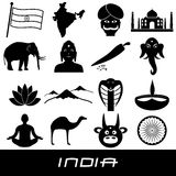 India country theme symbols stickers set eps10 Royalty Free Stock Photo