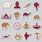 India country theme symbols stickers set eps10 Royalty Free Stock Photography