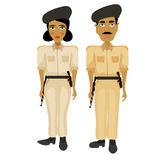 India couple woman police officers and a policeman.  Royalty Free Stock Image