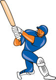 India Cricket Player Batsman Batting Cartoon. Illustration of a India cricket player batsman with bat batting colors done in cartoon style on isolated background Stock Photography