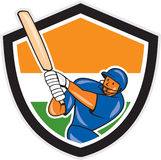 India Cricket Player Batsman Batting Shield Cartoon Royalty Free Stock Photo