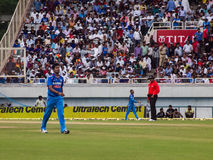 India cricketer Vinay Kumar. Indian cricket bowler Vinay Kumar walks back to his mark during the cricket match in Ranchi on the 23rd of October Royalty Free Stock Image