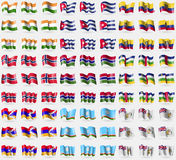 India, Cuba, Ecuador, Norway, Gambia, Central African Republic, Karabakh Repulic, Sakha Republic, British Antarctic Territory. Big. India Cuba Ecuador Norway Royalty Free Stock Photos