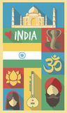India Cultural Symbols on a Poster and Postcard Royalty Free Stock Photos