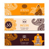 India culture 3 horizontal banners set Royalty Free Stock Photo