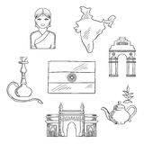 India culture and travel concept. With sketched icons of gate way, arch, woman in a sari, national flag, pot of tea and a hookah pipe Royalty Free Stock Image