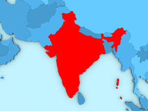 India on 3D map Stock Image