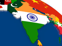 India on 3D map with flags Stock Images