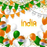 India Day celebration. 15 August. India Day celebration with flags and balloons. 15 August Vector Illustration Stock Photography