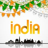 India Day celebration. 15 August. Vector Illustration with famous Indian Architecture Royalty Free Stock Photography