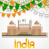 India Day celebration. 15 August. Vector Illustration with famous Indian Architecture Red Firt Sticker Stock Photo