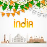 India Day celebration. 15 August. Vector Illustration with famous Indian Architecture Red Firt Sticker Taj Mahal, Kutub Minar Royalty Free Stock Images