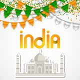 India Day celebration. 15 August. Vector Taj Mahal Illustration Stock Photography