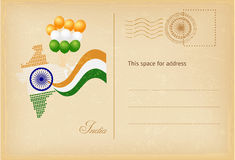 India day postcard in vintage style. Vector illustration. India independence and republic day greeting card with indian flag and map in vintage style. Vector royalty free illustration