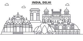 India, Delhi architecture line skyline illustration. Linear vector cityscape with famous landmarks, city sights, design. Icons. Editable strokes stock illustration