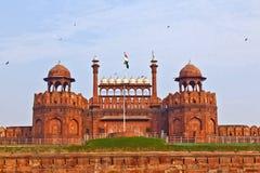 India, Delhi, het Rode Fort, werd het gebouwd door Shahjahan als Del Royalty-vrije Stock Foto