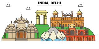 India, Delhi, Hinduism. City skyline, architecture, buildings, streets, silhouette, landscape, panorama, landmarks. India, Delhi, Hinduism. City skyline vector illustration
