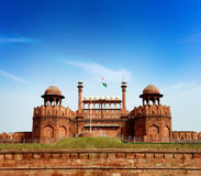 India, Delhi, the Red Fort. Red Fort is a 17th century fort complex constructed by the Mughal emperor Shah Jahan in the walled city of Delhi that served as the Royalty Free Stock Photo