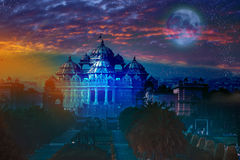 India. Delhi. The temple Akshardham by the light of the full Moon. Royalty Free Stock Images