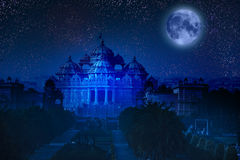 India. Delhi. The temple Akshardham by the light of the full Moon. Royalty Free Stock Photos
