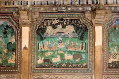 Indian palace, Bundi. India, detail of the decorated wall in the palace in the Bundi city in Rajasthan Royalty Free Stock Image