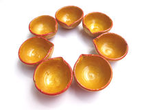 India-Diwali lamps. Oil lamps also called as diya used for lighting in diwali festival in india