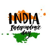 India dnia niepodległości 15 literowania kaligrafii august ilustracja Obraz Royalty Free