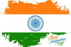 India dnia niepodległości Szczęśliwy kartka z pozdrowieniami z hindus flaga muśnięcia uderzenia tłem i ręki literowania teksta pr ilustracja wektor