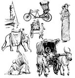 India, drawing collection Royalty Free Stock Image