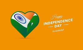 India dzień niepodległości 15 falowania august flaga w sercu wektor Obrazy Stock