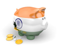 India economy and finance concept for unemployment, poverty, and national debt. Broken piggy bank painted with the flag of India. Money is falling out a hole in Royalty Free Stock Photography