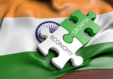 India economy and financial market growth concept. 3D rendered concept for India`s economy and financial market growth Stock Image