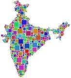 India in een gekleurd mozaïek Stock Foto's