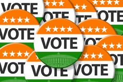 India elections. Vote India on badge, and India Parliament and flag royalty free illustration