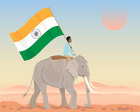 India elephant and flag Royalty Free Stock Images