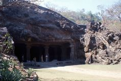 1977. India. Elephanta caves, near Bombay. The photo shows, the entrance to one of the Elephanta caves Stock Photography
