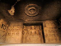 India, Ellora Buddhist cave Stock Images