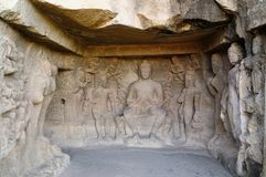 India, Ellora Buddhist cave Royalty Free Stock Photos