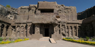 India, Ellora Buddhist cave Royalty Free Stock Photos