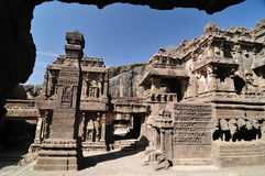 India - Ellora caves. View of ancient Buddhist cave temples at Ellora, Maharashtra, India (Unesco Stock Image