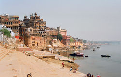 India, Embankment. India, Embankment in Benares (Varanasi Royalty Free Stock Photo