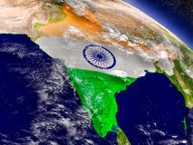 India with embedded flag on Earth Stock Image