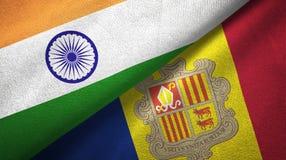 India en Andorra twee vlaggen textieldoek, stoffentextuur royalty-vrije illustratie