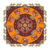 India. Ethnic bandana print with beautiful flowers, paisley and elephants. Royalty Free Stock Photography
