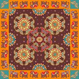 India. Ethnic bandana print with ornament border. Silk neck scarf with beautiful flowers, paisley and elephants Royalty Free Stock Photos