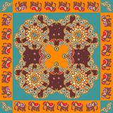 India. Ethnic bandana print with ornament border. Silk neck scarf. With beautiful flowers, paisley and elephants. Summer kerchief square pattern design style Royalty Free Stock Images