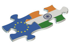 India and EU puzzles from flags. India and European Union puzzles from flags Stock Photography