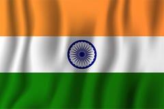 India falowania flaga wektoru realistyczna ilustracja Krajowy countr Obrazy Stock