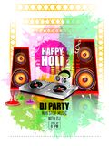 India Festival of Color Happy Holi DJ Party background. Vector illustration of India Festival of Color Happy Holi DJ Party background Royalty Free Stock Images