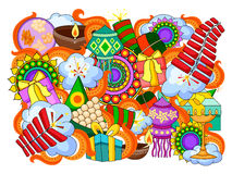 India festival of Lights Happy Diwali doddle background. Vector illustration of India festival of Lights Happy Diwali doddle background Stock Images